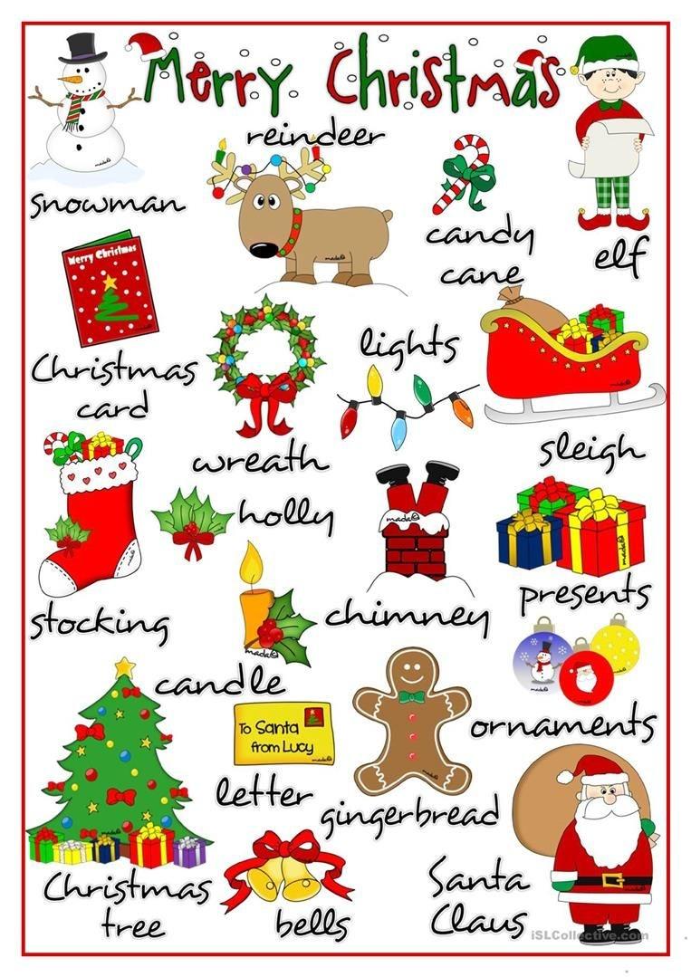 Merry Christmas - Pictionary Worksheet - Free Esl Printable - Free Printable Christmas Pictionary Words