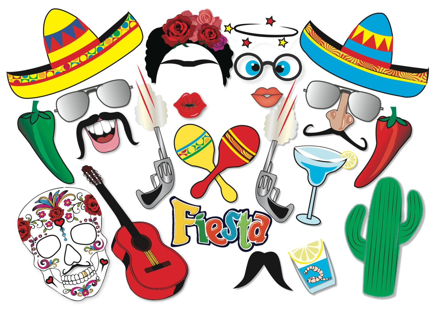 Mexican Party Printable Photobooth Props Mexican Photo Booth - Free Printable Cinco De Mayo Photo Booth Props
