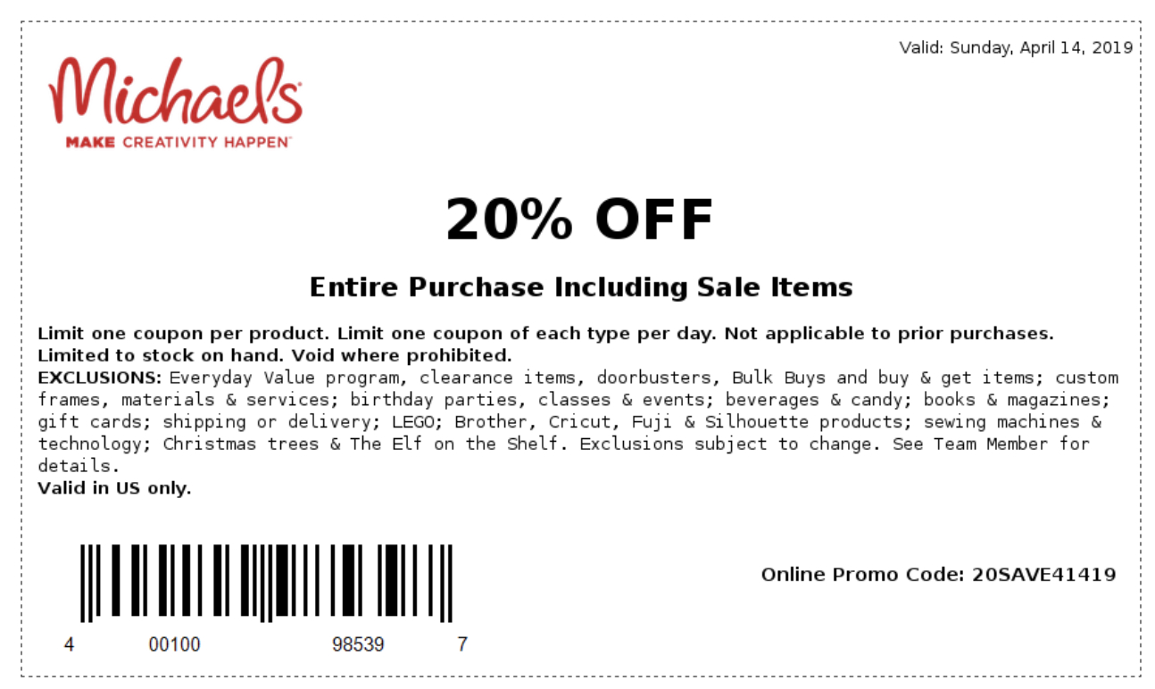 Michaels Coupons In Store (Printable Coupons) - 2019 - Free Printable Michaels Coupons