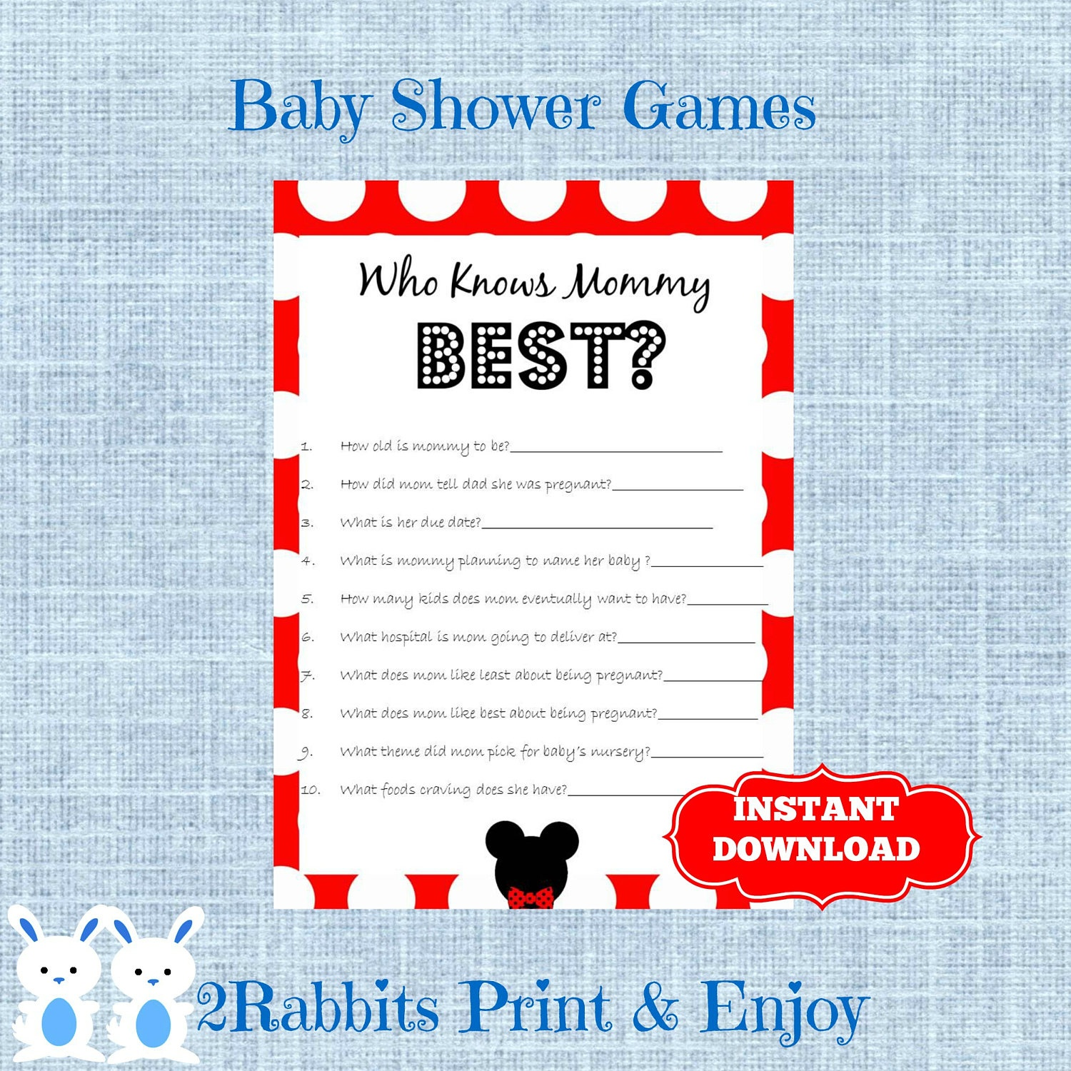 Mickey Mouse Baby Shower Game Who Knows Mommy Best Disney | Etsy - Free Printable Mickey Mouse Baby Shower Games