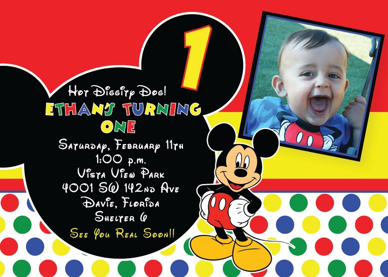 Mickey Mouse Birthday Invitations | Tubidportal - Free Printable Mickey Mouse Birthday Invitations