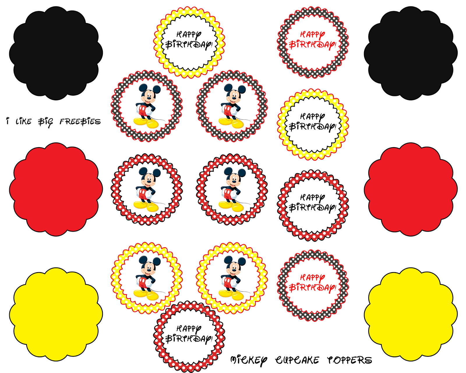 Mickey Mouse Cupcake Toppers (Free Printable) | Projects To Try - Free Printable Mickey Mouse Favor Tags