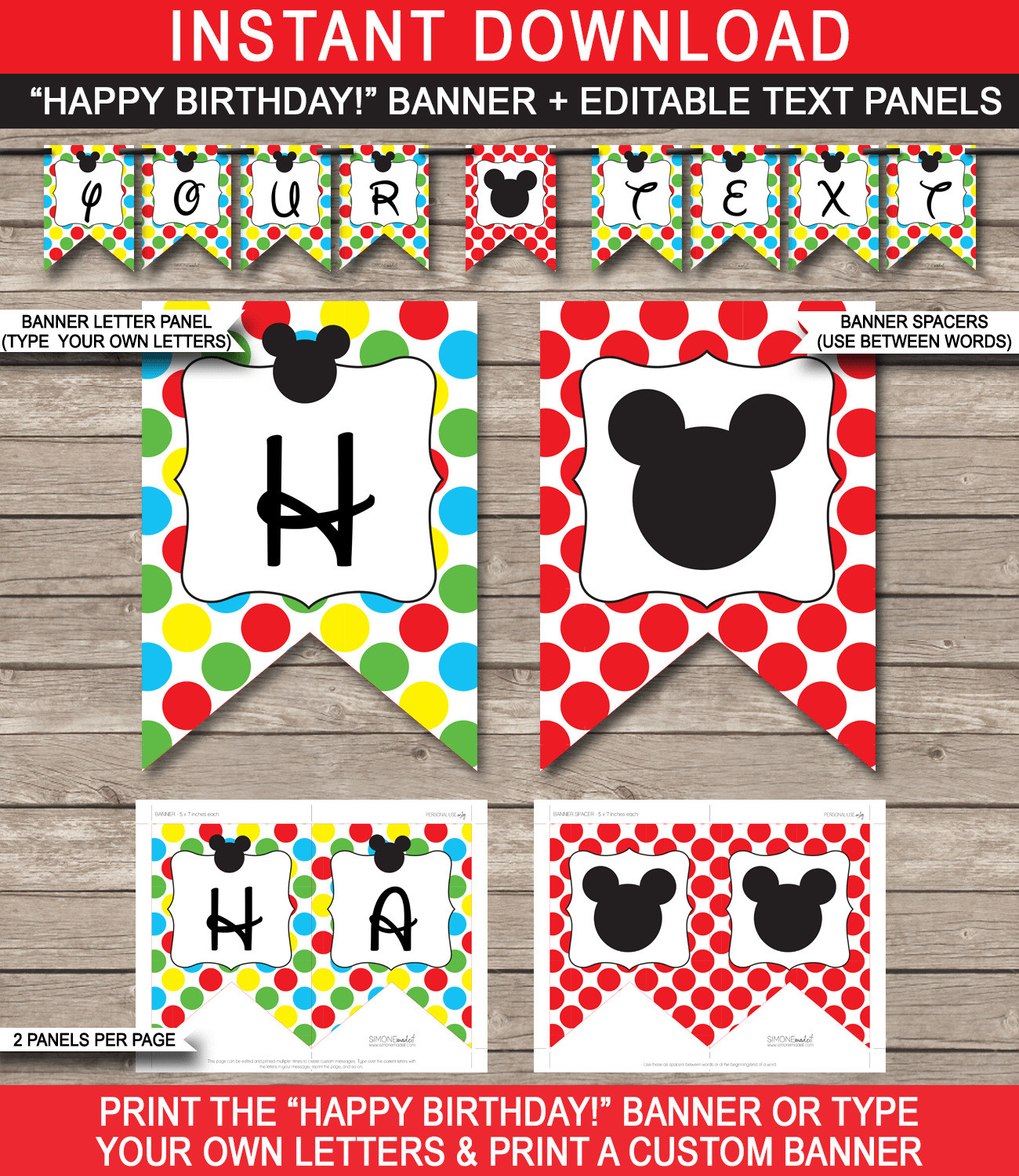 Mickey Mouse Party Banner Template | Birthday Banner | Editable Bunting - Simone Made It Free Printables