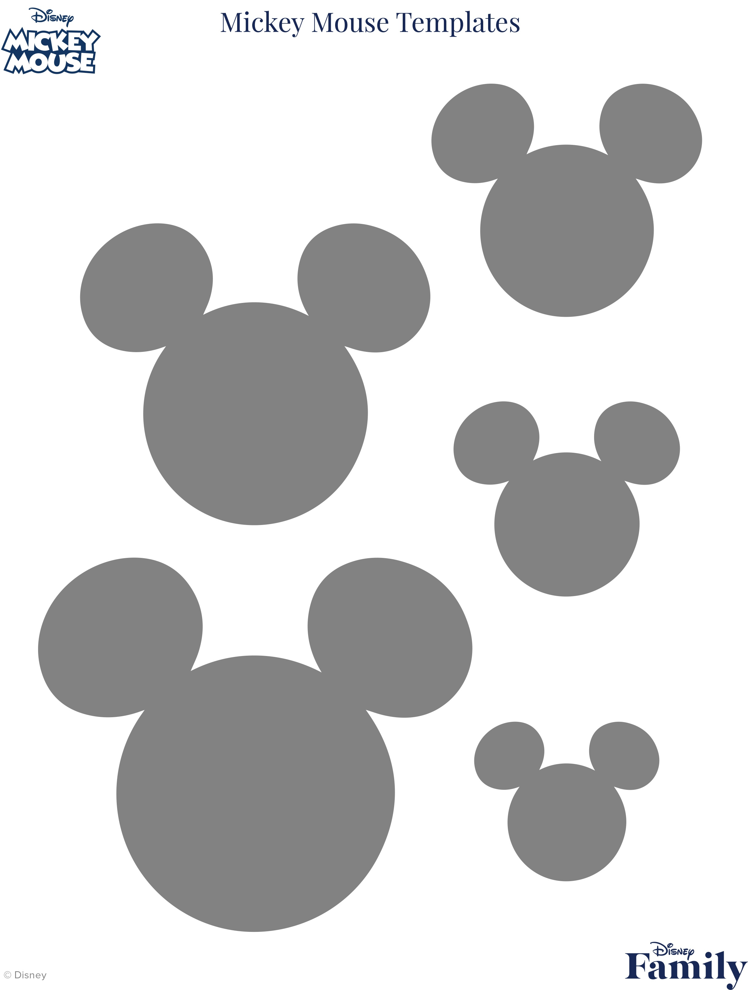 Mickey Mouse Template | Disney Family - Free Printable Disney Font Stencils