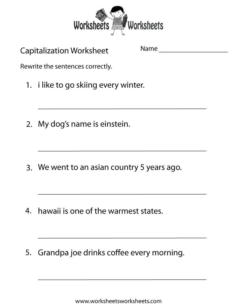 Middle School Capitalization Worksheet - Free Printable Educational - Free Printable High School Worksheets