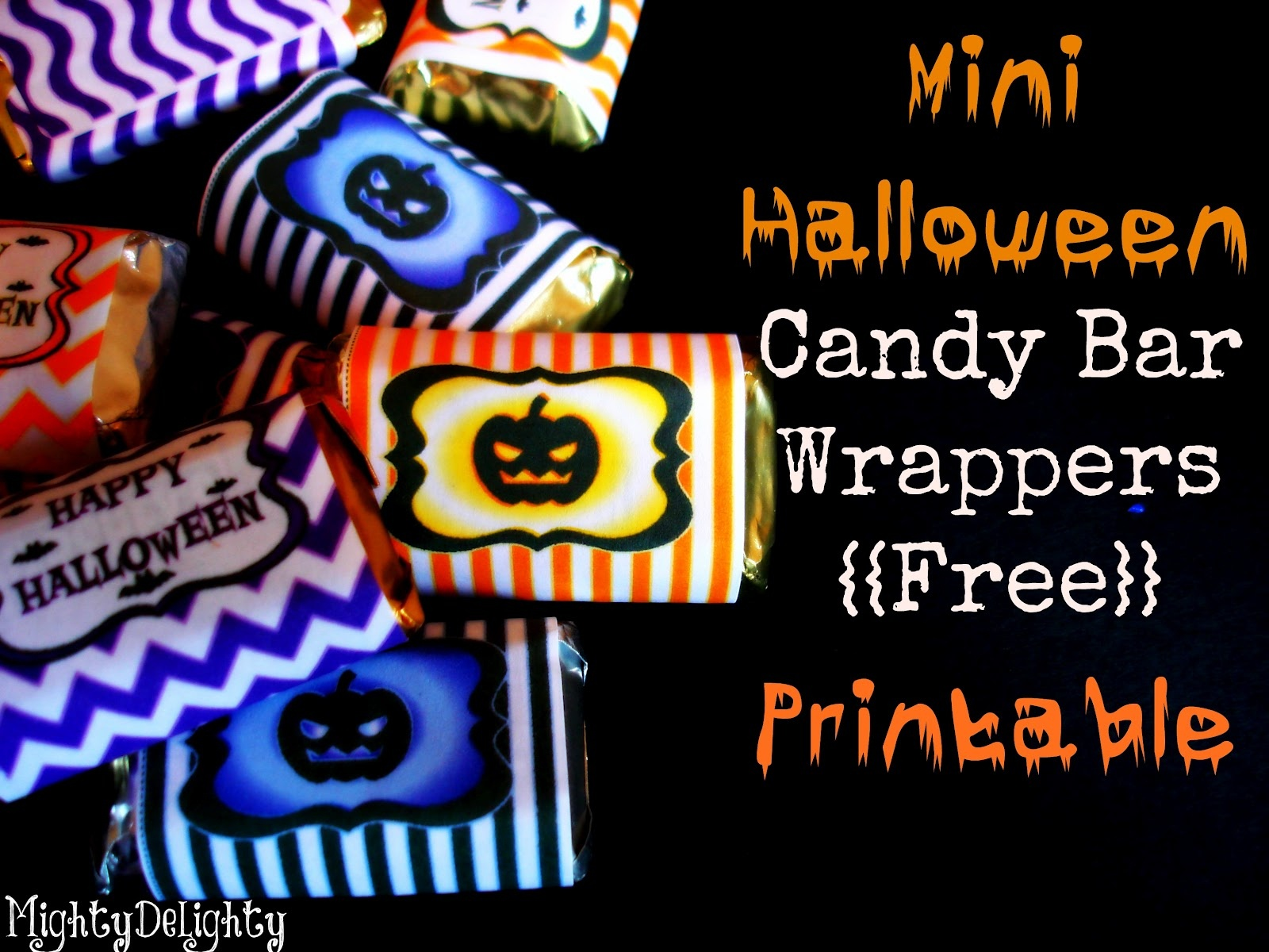 Mighty Delighty: Mini Halloween Candy Bar Wrappers {{Free Printable}} - Free Printable Mini Candy Wrapper Template