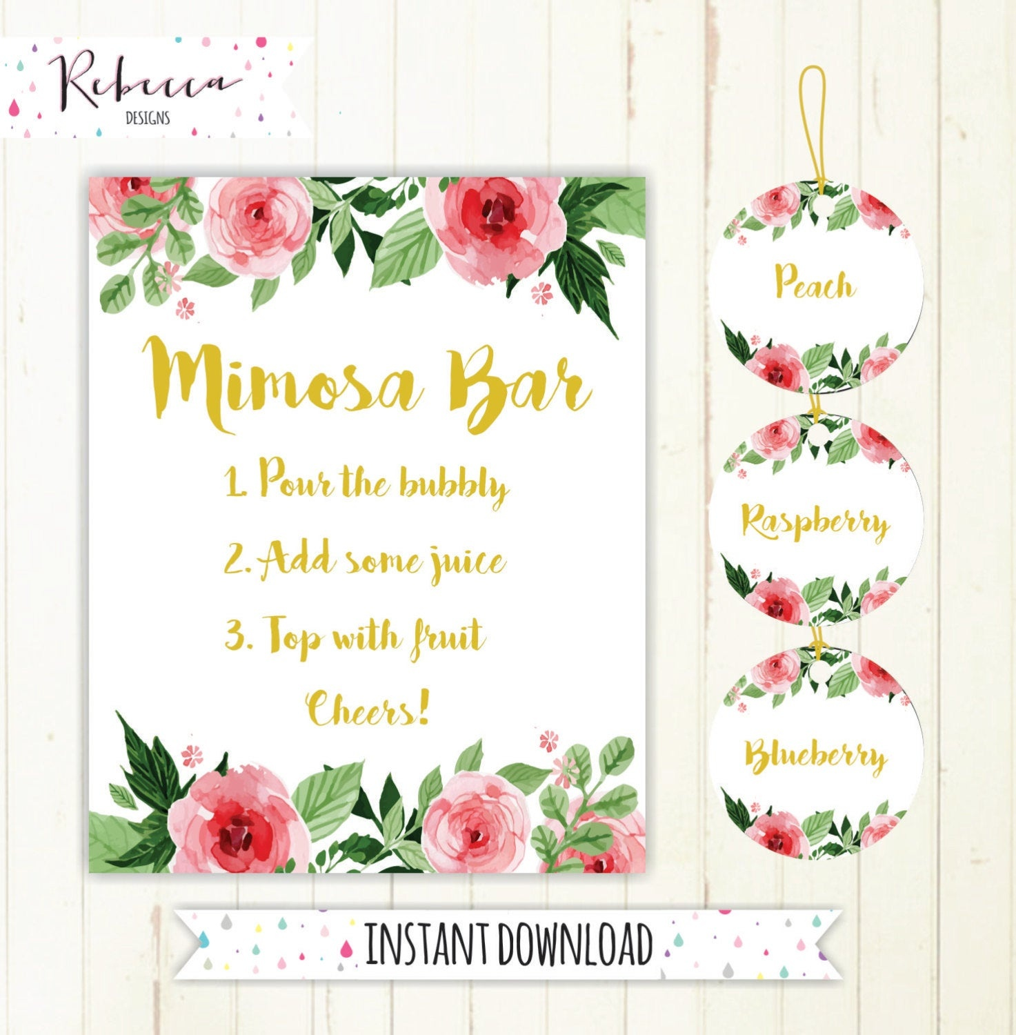 Mimosa Bar Sign Juice Labels Mimosa Bar Printable Sign Floral | Etsy - Free Mimosa Bar Printable