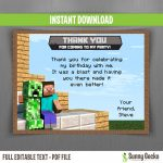 Minecraft Birthday Thank You Cards   Free Printable Minecraft Thank You Notes