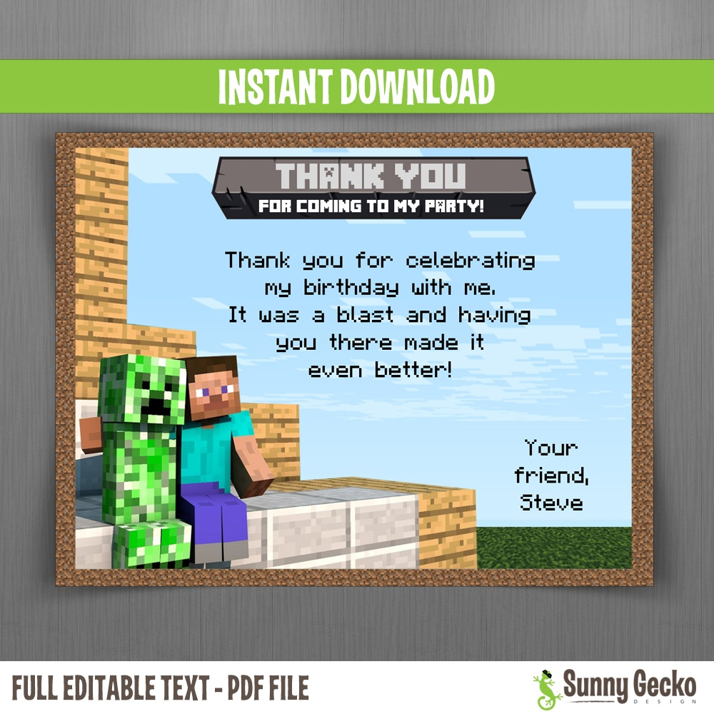 Minecraft Birthday Thank You Cards - Free Printable Minecraft Thank You Notes