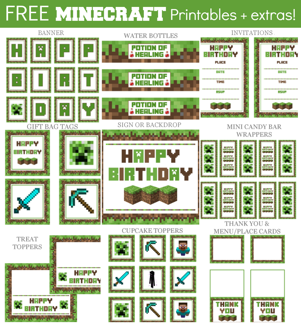 Minecraft Party Printable Downloads | Cake Ideas | Minecraft - Free Minecraft Party Printables