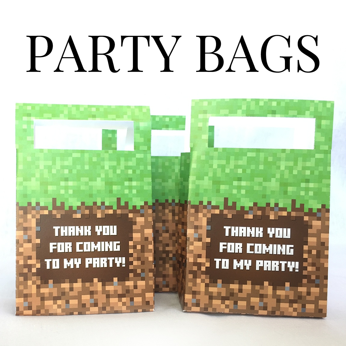 Minecraft Printable Party Favor Gift Bags - Free Printable Minecraft Thank You Notes