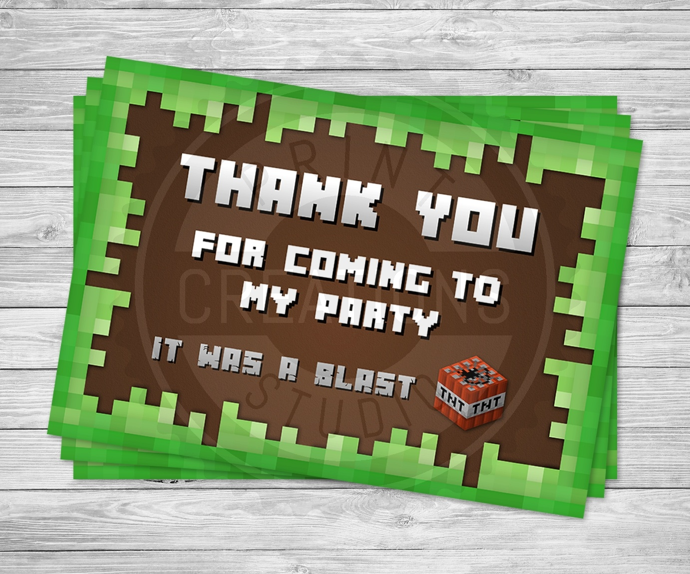Minecraft Thank You Cards - Printable - Free Printable Minecraft Thank You Notes