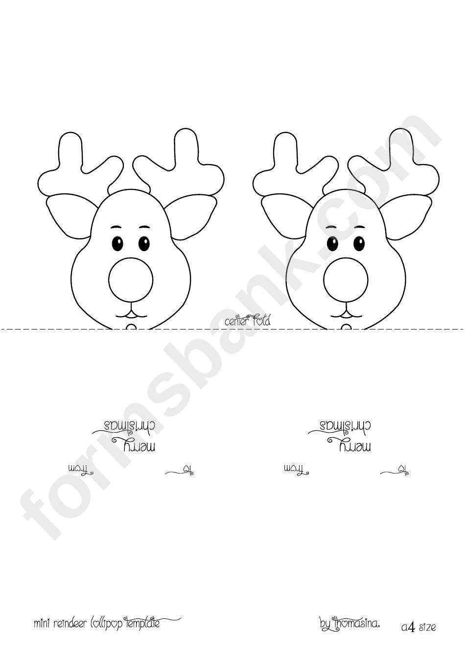 Mini Reindeer Lollipop Template | Holidays!! | Reindeer, Reindeer - Free Printable Reindeer Lollipop Template
