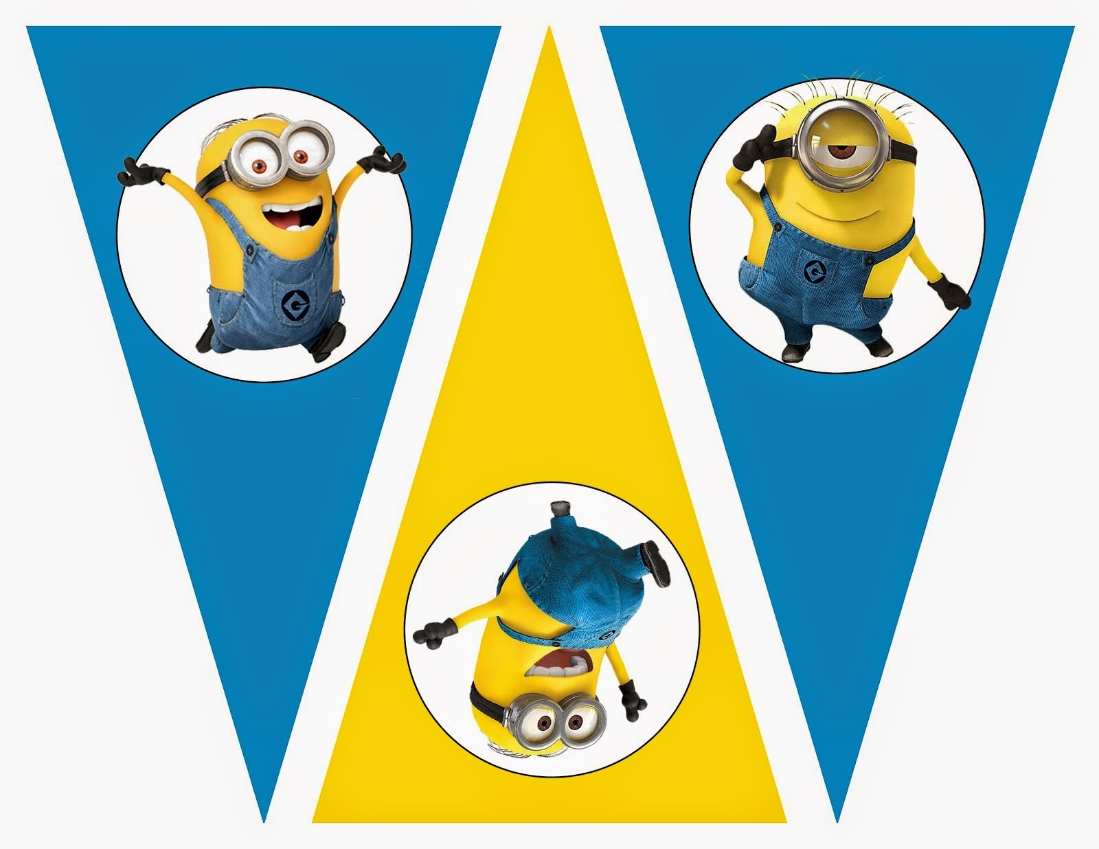 Minions: Free Printable Bunting, Labels And Toppers. - Oh My Fiesta - Free Minion Printables