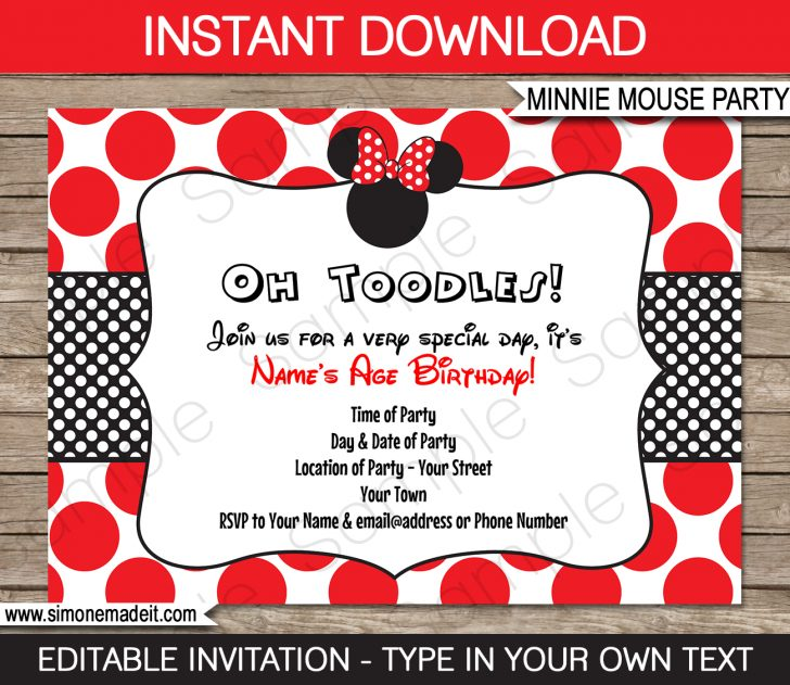 Free Printable Minnie Mouse Party Invitations