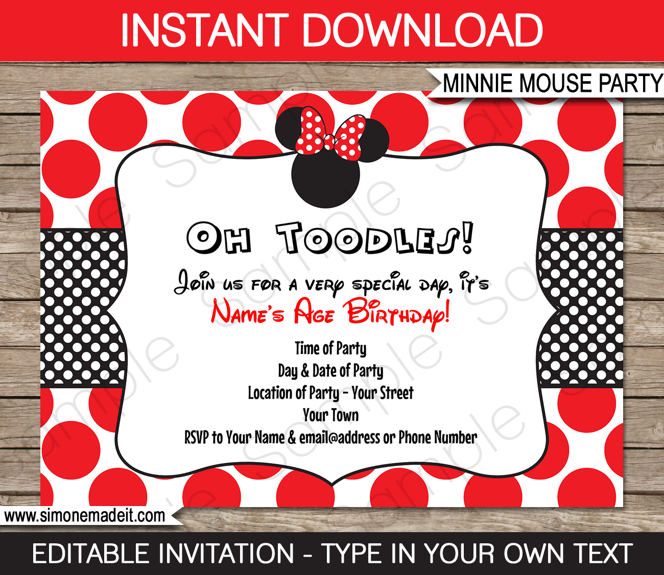 Minnie Mouse Birthday Party Invitations Template   Red - Free Printable Minnie Mouse Party Invitations