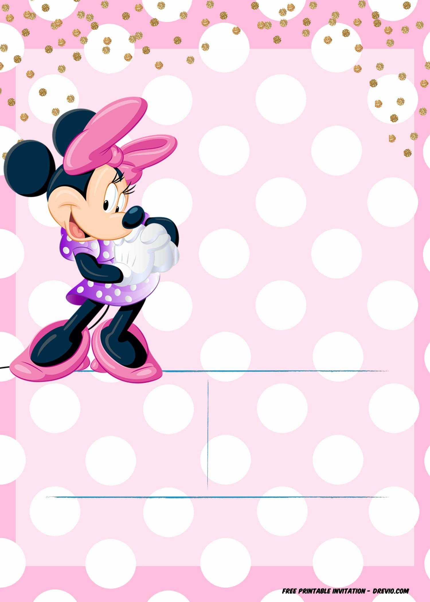 Minnie Mouse Invitation Template - Editable And Free Download - Free Minnie Mouse Printable Templates