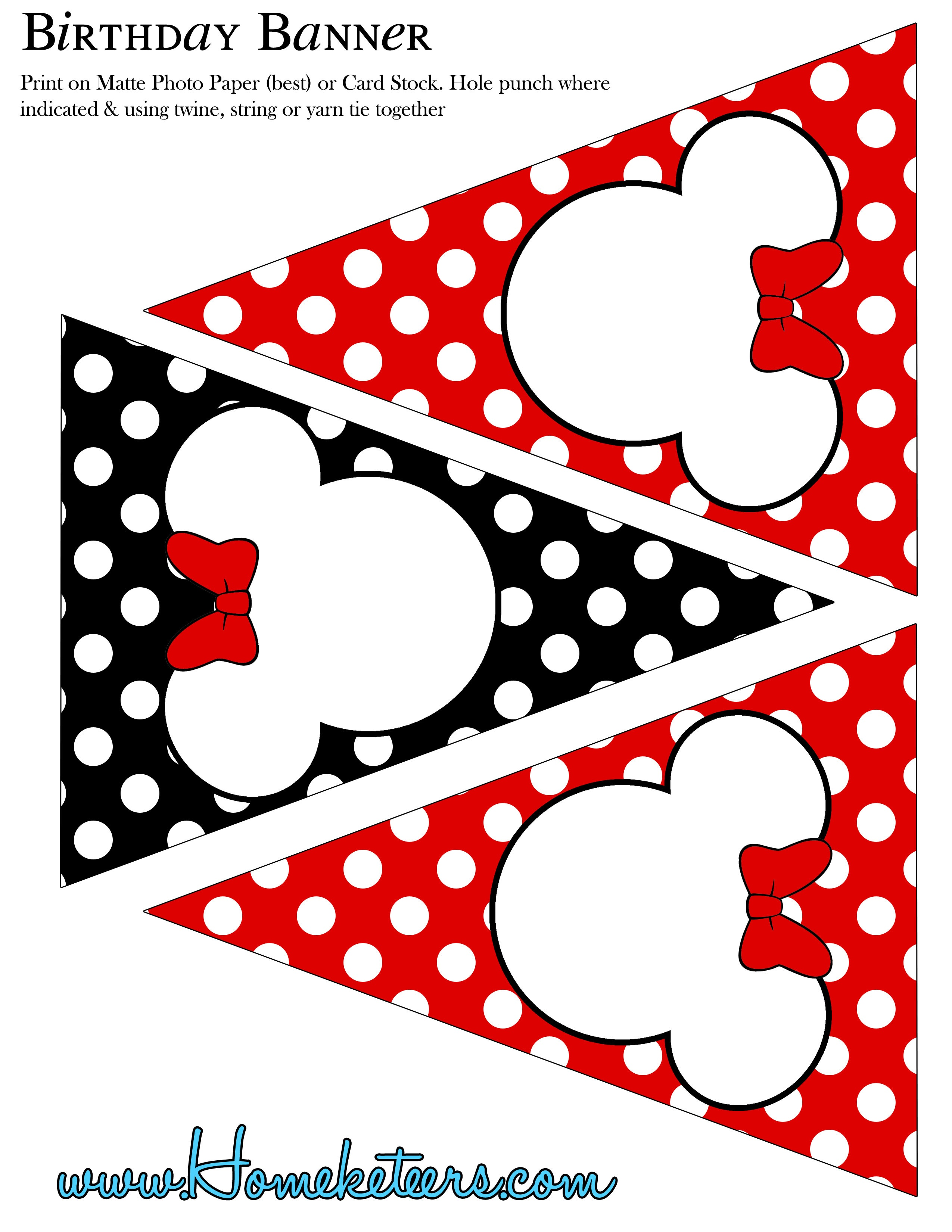 Minnie Mouse Party Printable Kit – Red {Free} - Free Minnie Mouse Printables
