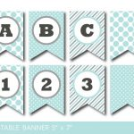 Mint And Grey Banner, Party Banner, Birthday Banner, Baby Shower   Free Printable Baby Shower Banner Letters