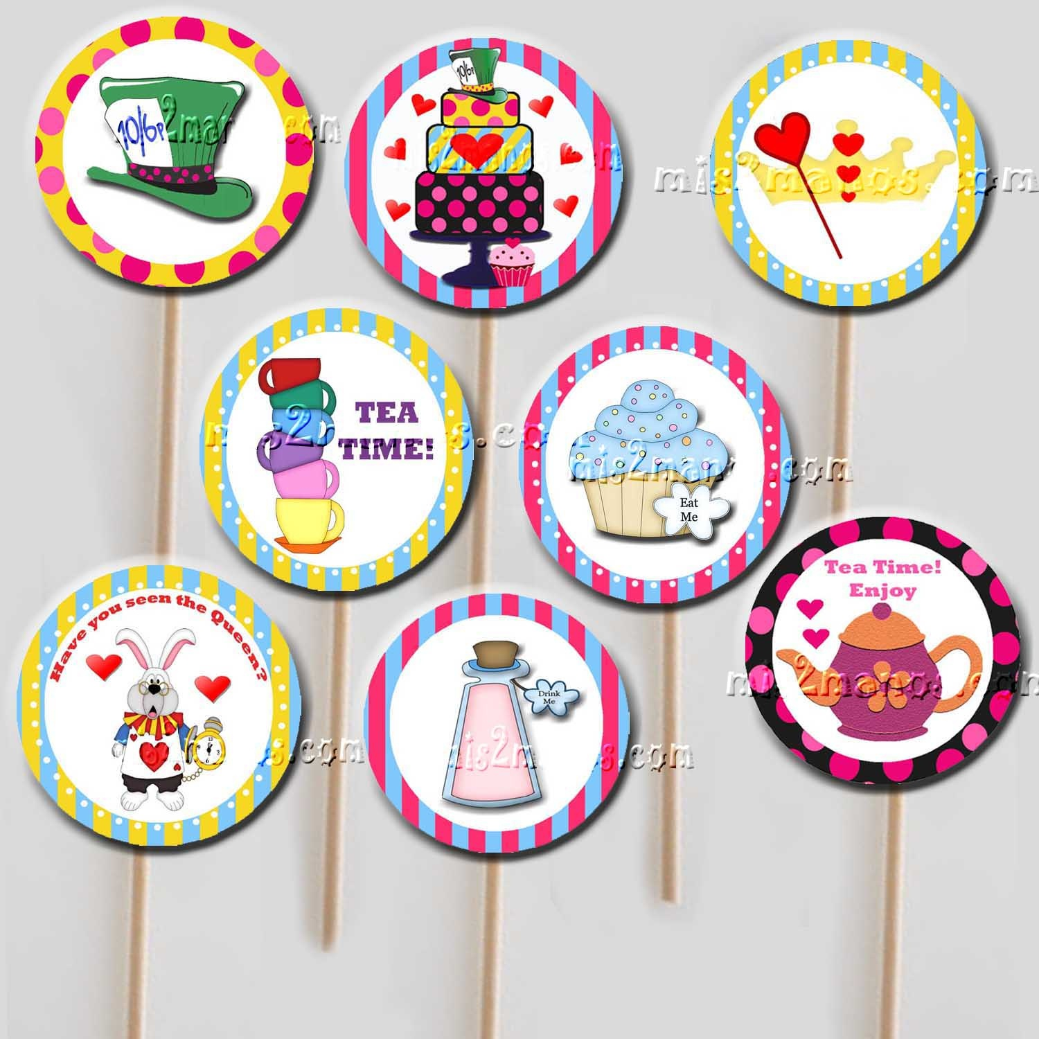Mis 2 Manos: Mademy Hands: Cupcake Toppers Alice In Wonderland - Alice In Wonderland Cupcake Toppers Free Printable
