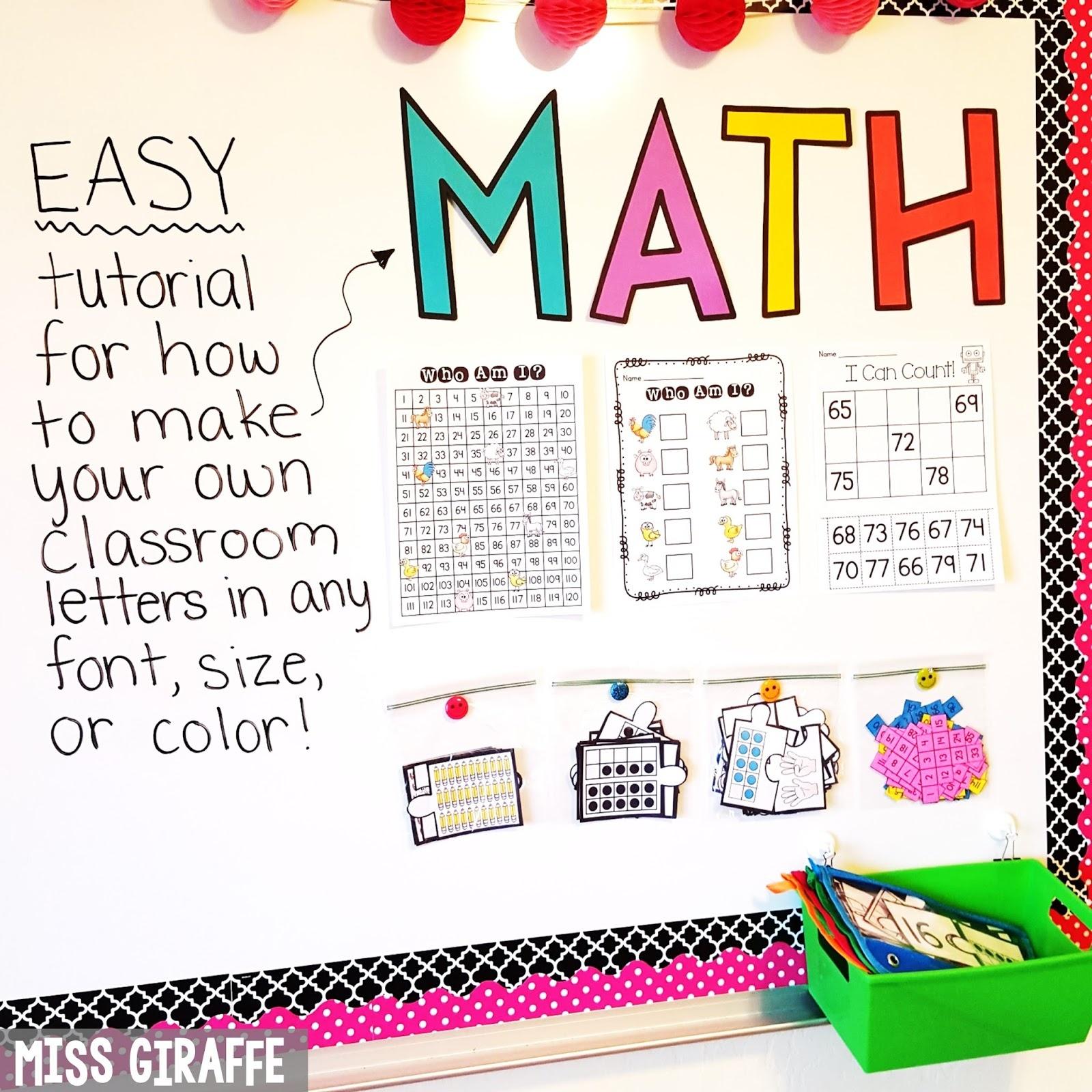Miss Giraffe's Class: Diy Classroom Decor Bulletin Board Letters - Free Printable Letters For Bulletin Boards