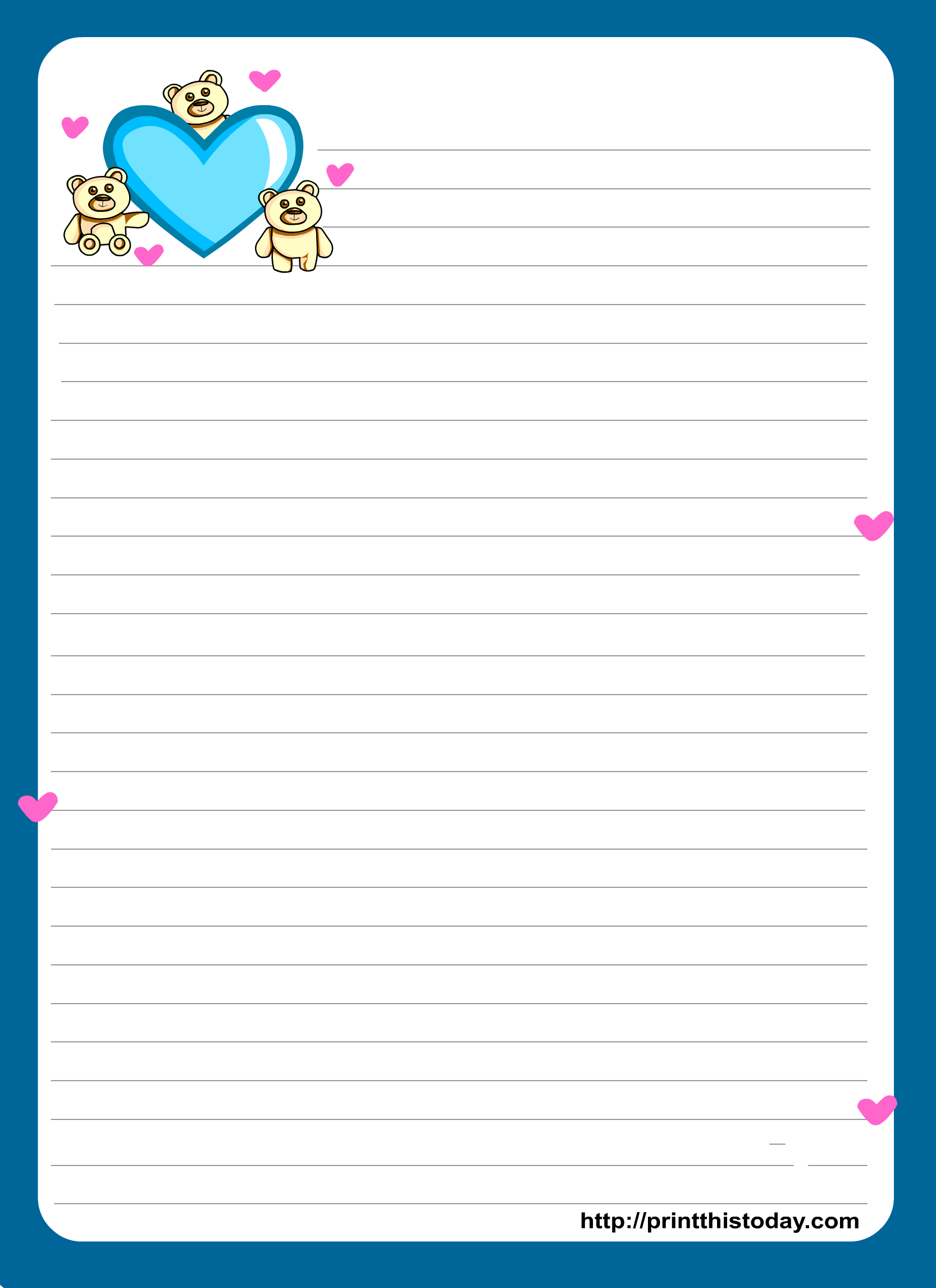 Miss You Love Letter Pad Stationery | Lined Stationery | Free - Free Printable Lined Stationery