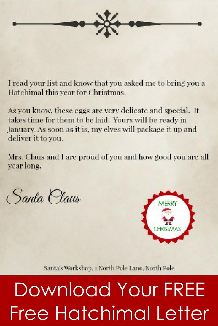 Missing Hatchimal Santa Letter | Free Printables | Santa Letter - Free Printable Christmas Morning Letters From Santa