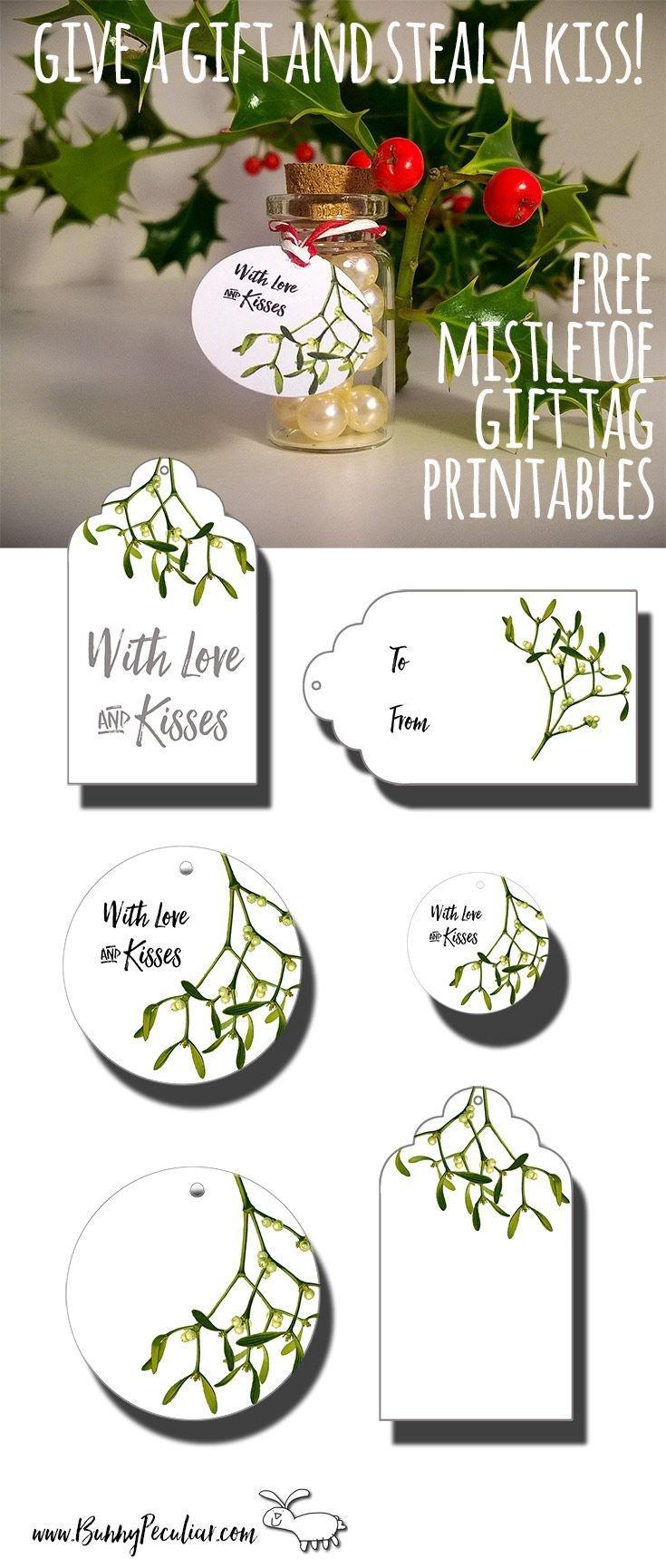 Mistletoe Gift Tags | Tags | Christmas Gift Tags Printable, Gift - Free Printable Mistletoe Tags