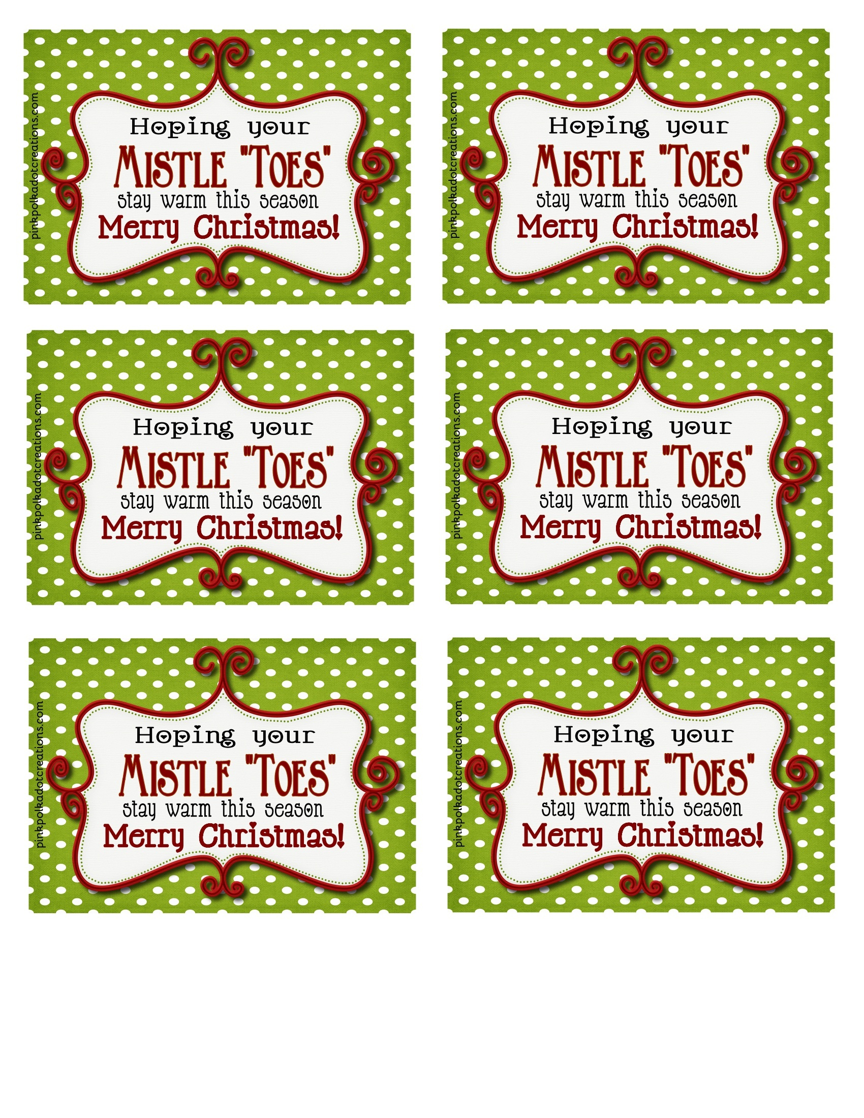 "Mistle""toes"" Gift Idea - Pink Polka Dot Creations - Free Printable Mistletoe Tags"