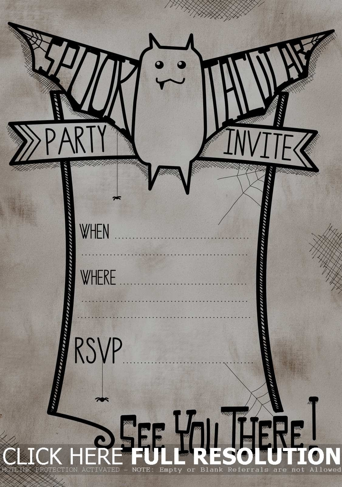 Modern Printable Halloween Birthday Invitations Images - Invitation - Free Printable Halloween Invitations For Adults