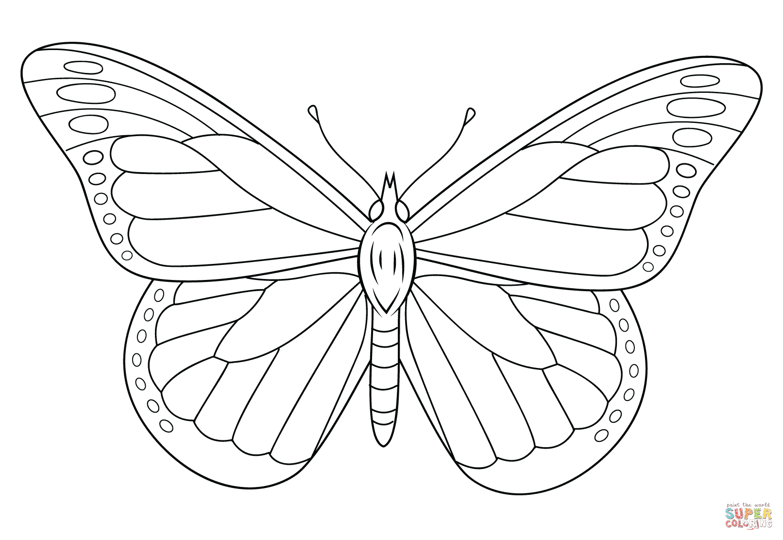 Free Butterfly Stencil   Monarch Butterfly Outline And ...