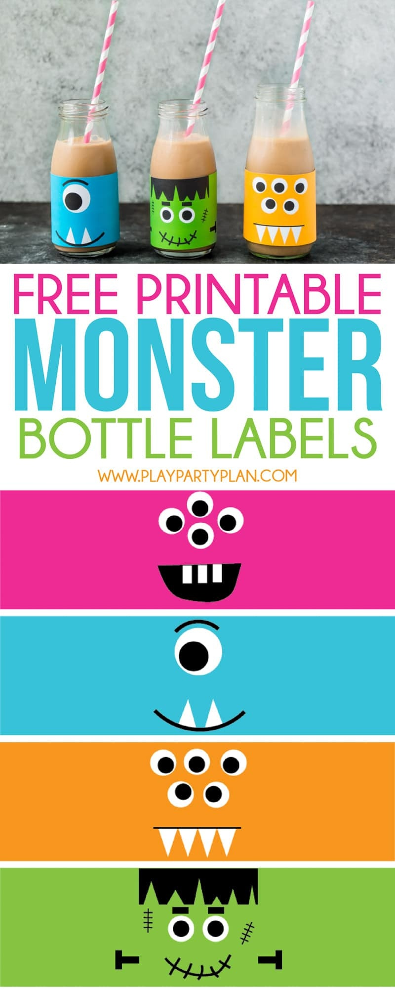Monster Milk & Cookie Sandwiches (Free Printable Labels!) - Play - Roll A Monster Free Printable