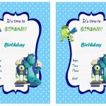 Monsters University Free Printable Birthday Party Invitations   Free Printable Monsters Inc Birthday Invitations