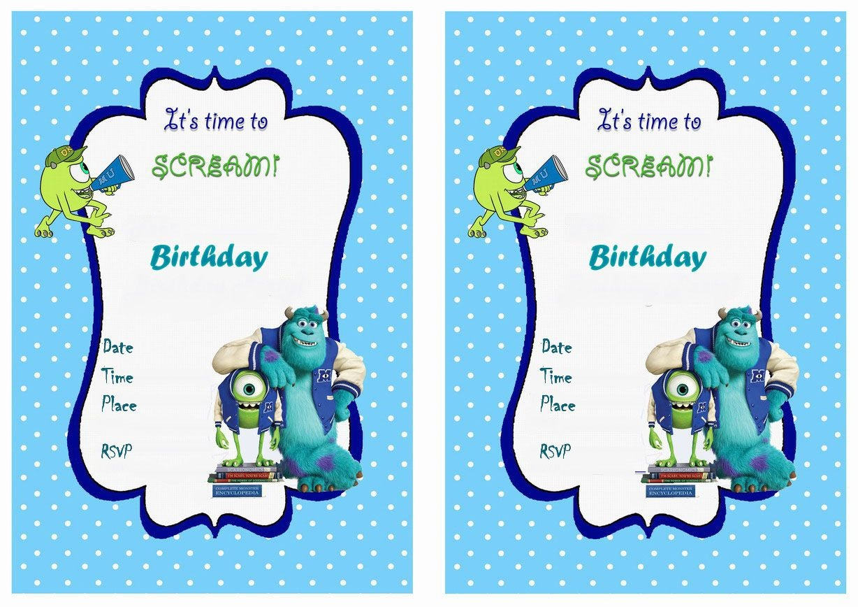 Monsters University Free Printable Birthday Party Invitations - Free Printable Monsters Inc Birthday Invitations