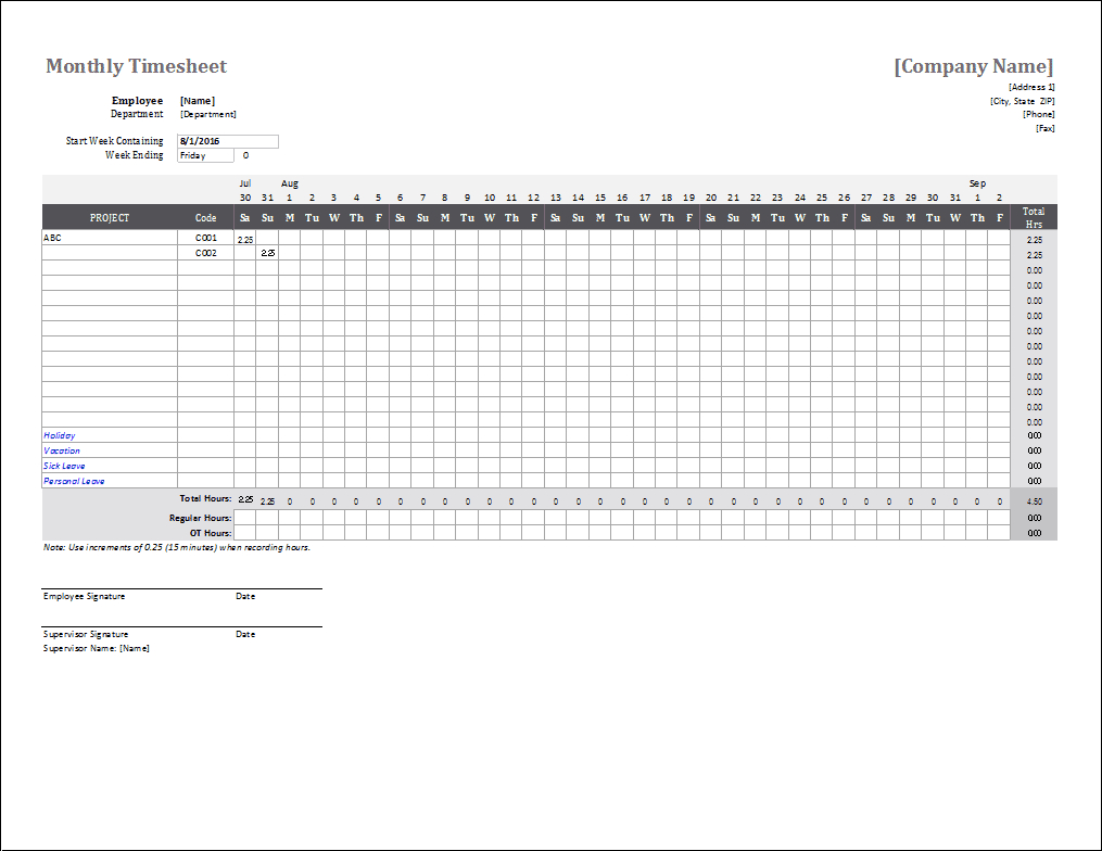 Monthly Timesheet Template For Excel And Google Sheets - Free Printable Attendance Sheets