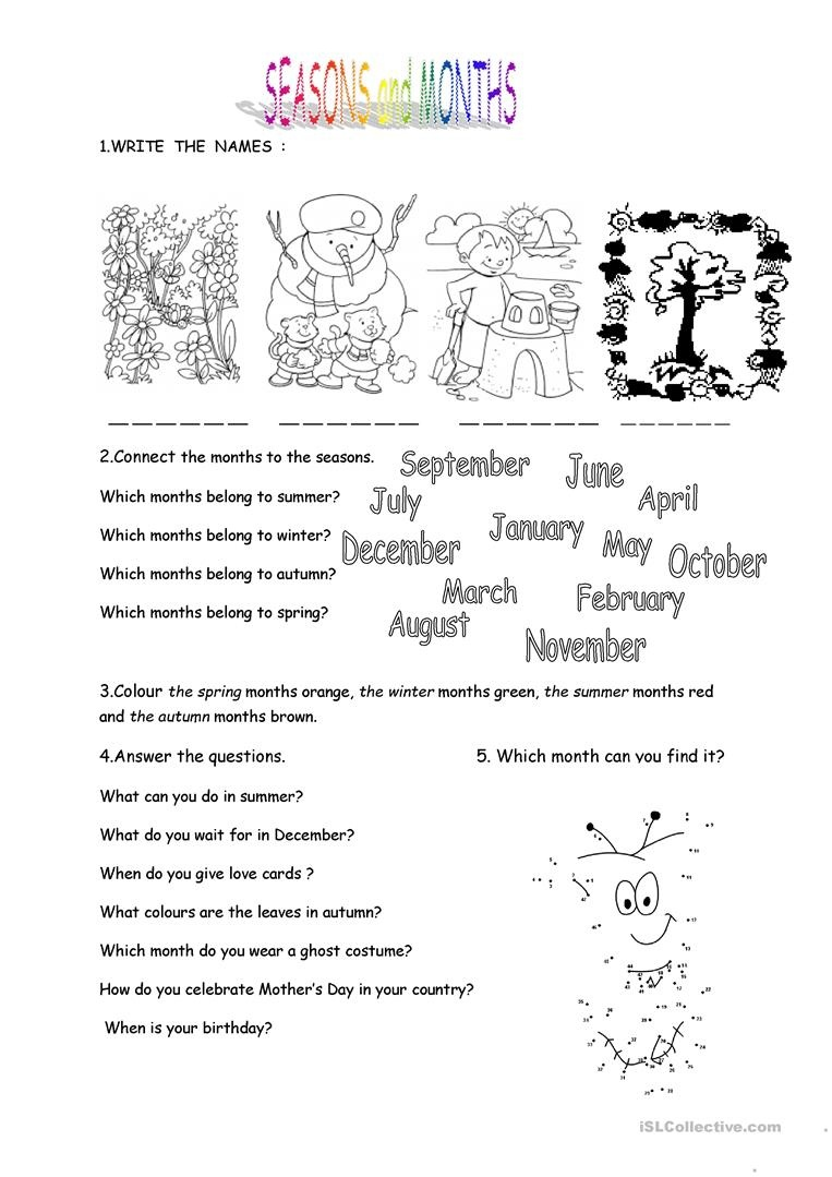 Months And Seasons Worksheet - Free Esl Printable Worksheets Made - Free Printable Seasons Worksheets For Kindergarten