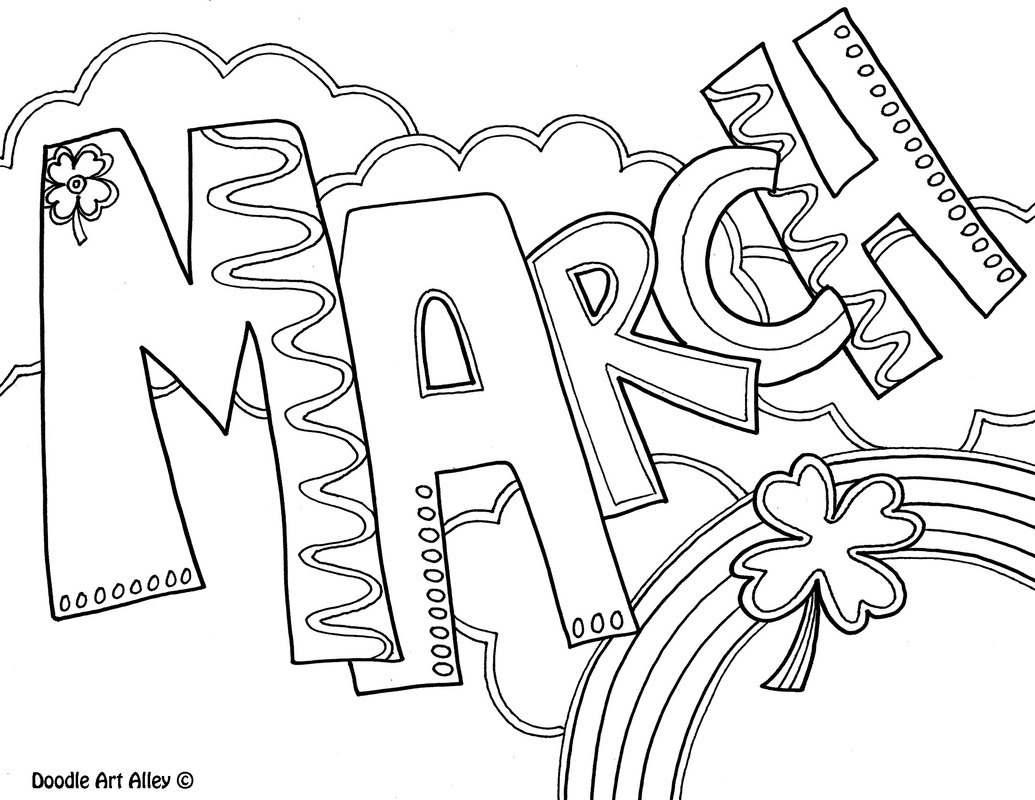 Months Of The Year Coloring Pages - Classroom Doodles - Free Printable Coloring Pages For March