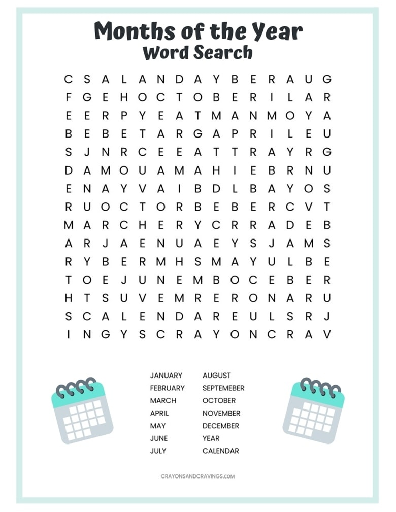 Months Of The Year Word Search Free Printable For Kids - Free Printable Months Of The Year