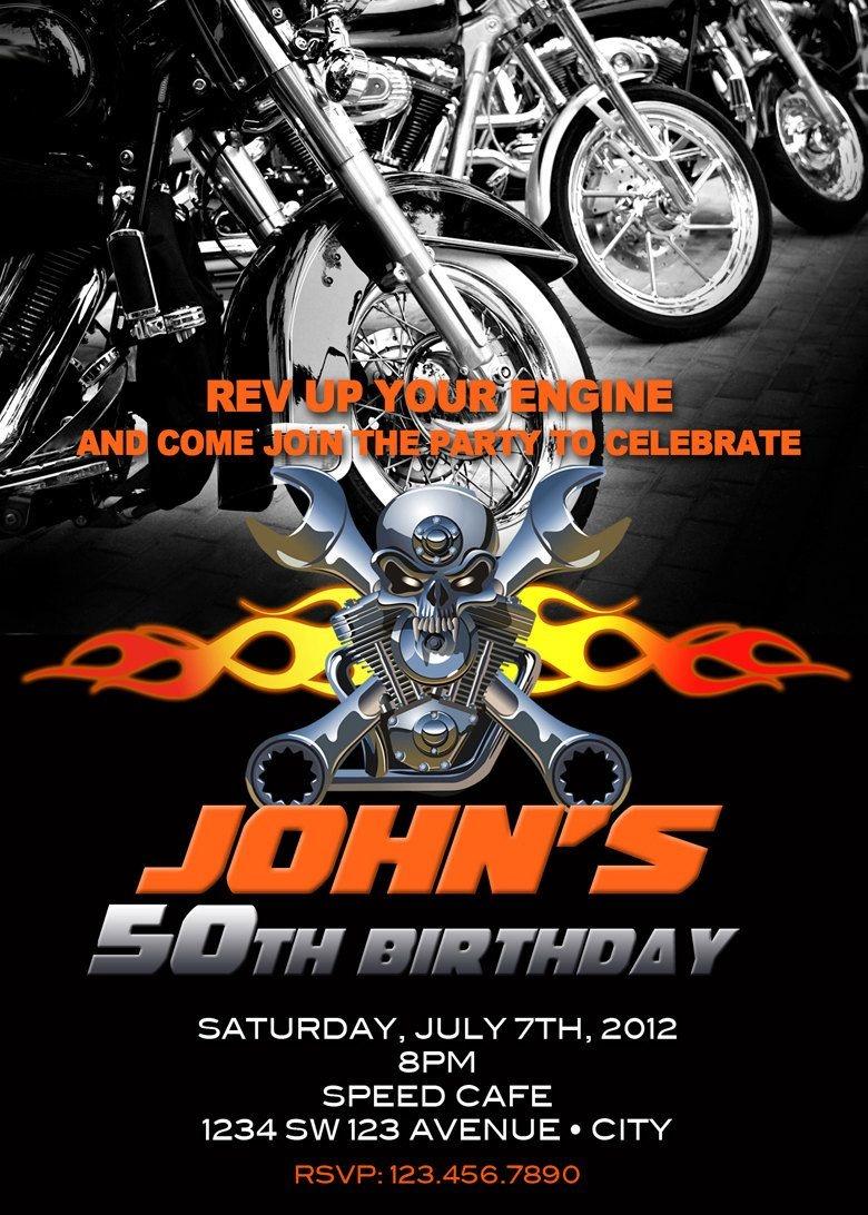 Motorcycle Invitation Printable File Diy - Bike Birthday Invitation - Free Printable Harley Davidson Birthday Invitations