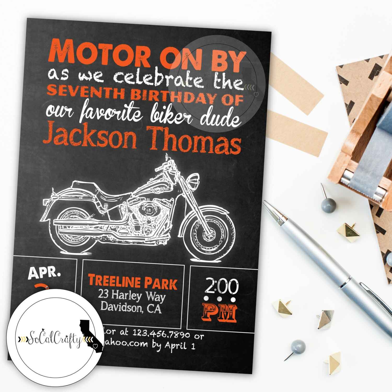 Motorcycle Invite Motorcycle Birthday Motorcycle Party | Etsy - Free Printable Harley Davidson Birthday Invitations