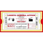 Movie Ticket Cinema Drive In Birthday Party Printable Invitation   Free Printable Movie Ticket Birthday Party Invitations