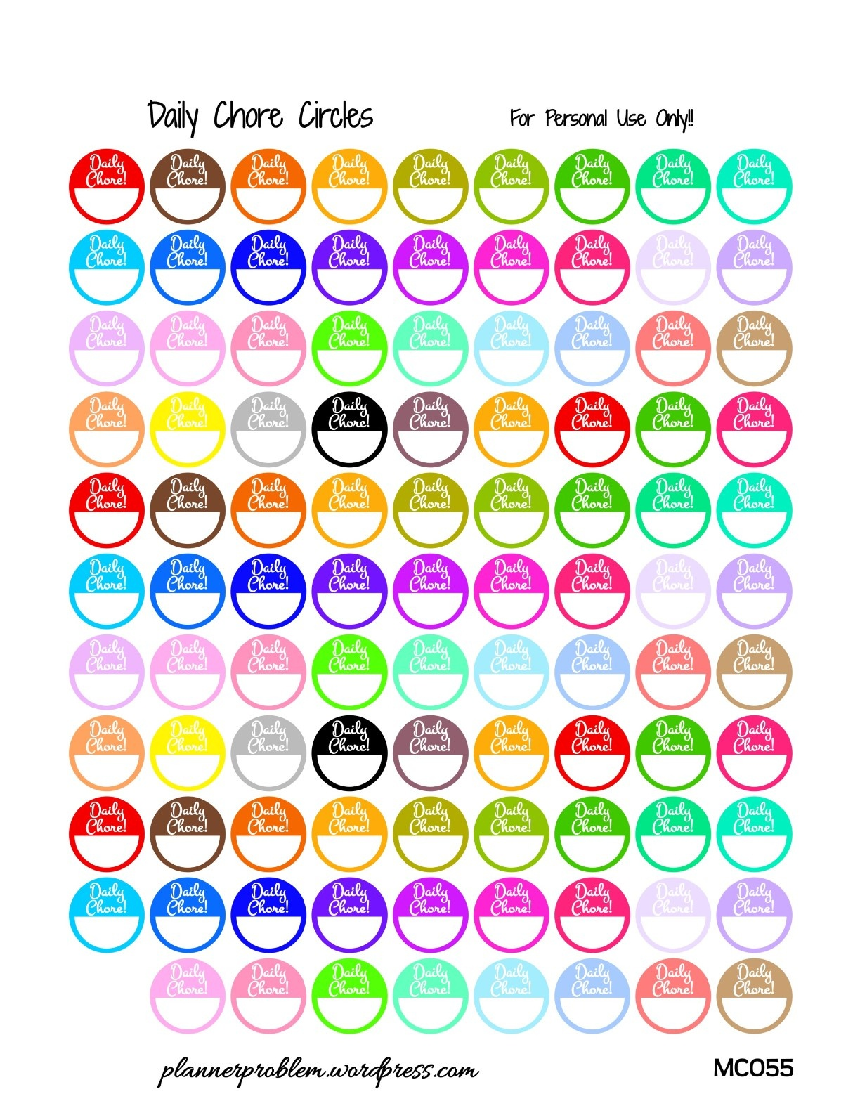 Multicolor Daily Chore Labels! {Glitter & Solid}   Free Printable - Chore Stickers Free Printable