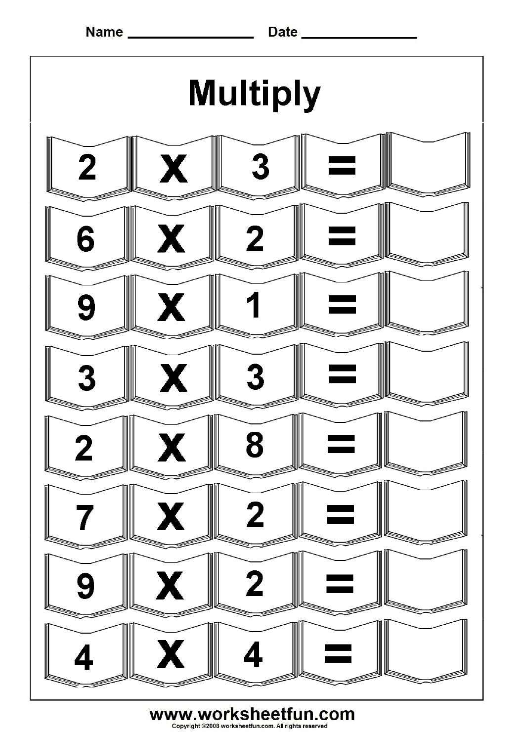 Multiplication – 5 Worksheets / Free Printable Worksheets – Worksheetfun - Free Printable Work Sheets