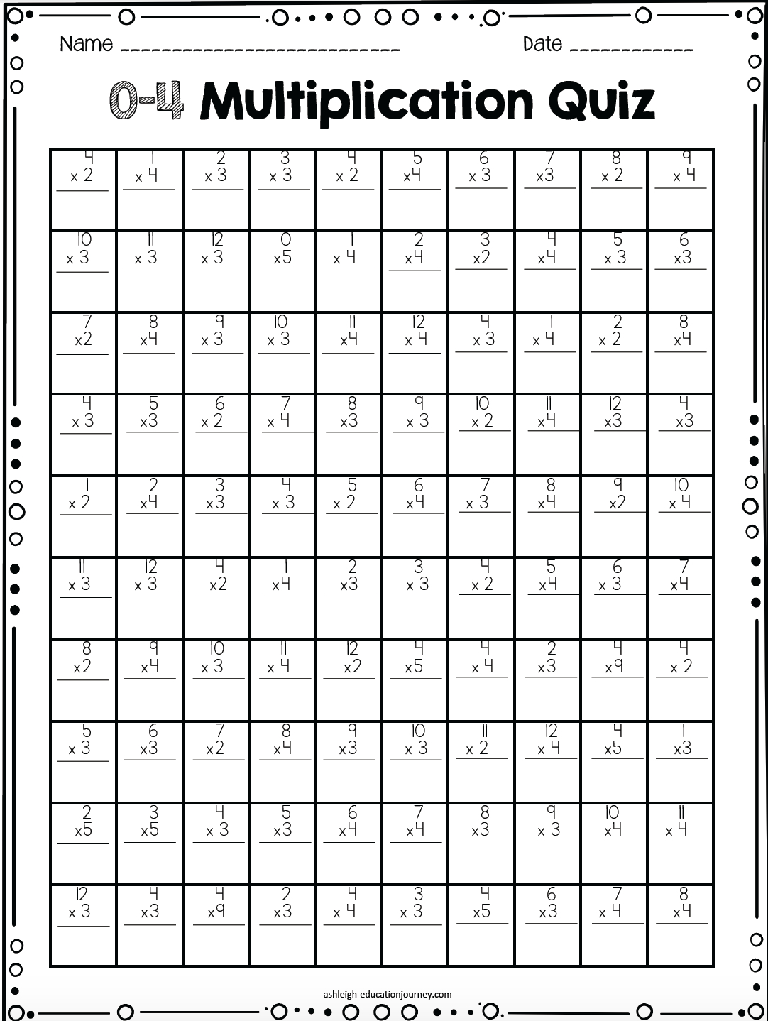 Multiplication Facts For Upper Elementary Students | Class | Math - Free Printable Multiplication Timed Tests