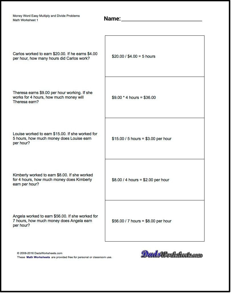 Multiplication Worksheet And Division Worksheet Money Word Problems - Free Printable Money Word Problems Worksheets