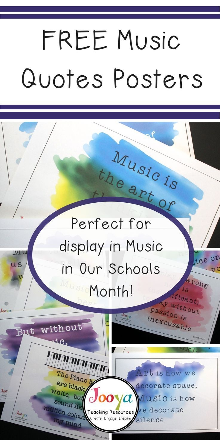 Music Quotes Posters Freebie | Literacy Counts! | Music Classroom - Free Printable Music Posters