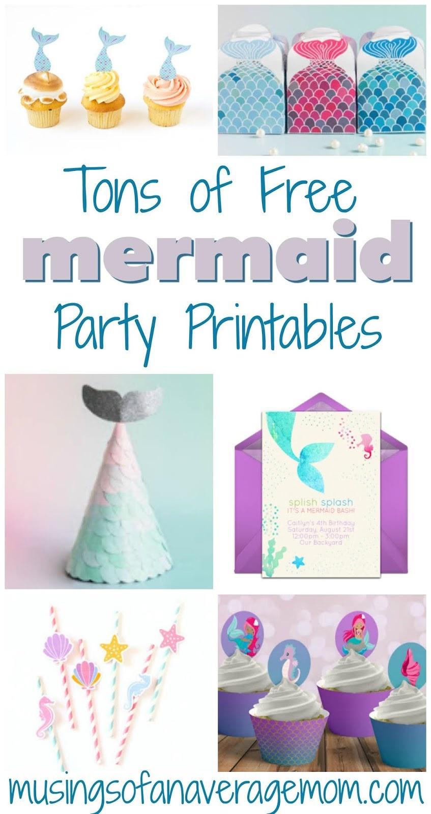 Musings Of An Average Mom: Mermaid Party Printables - Free Mermaid Printables