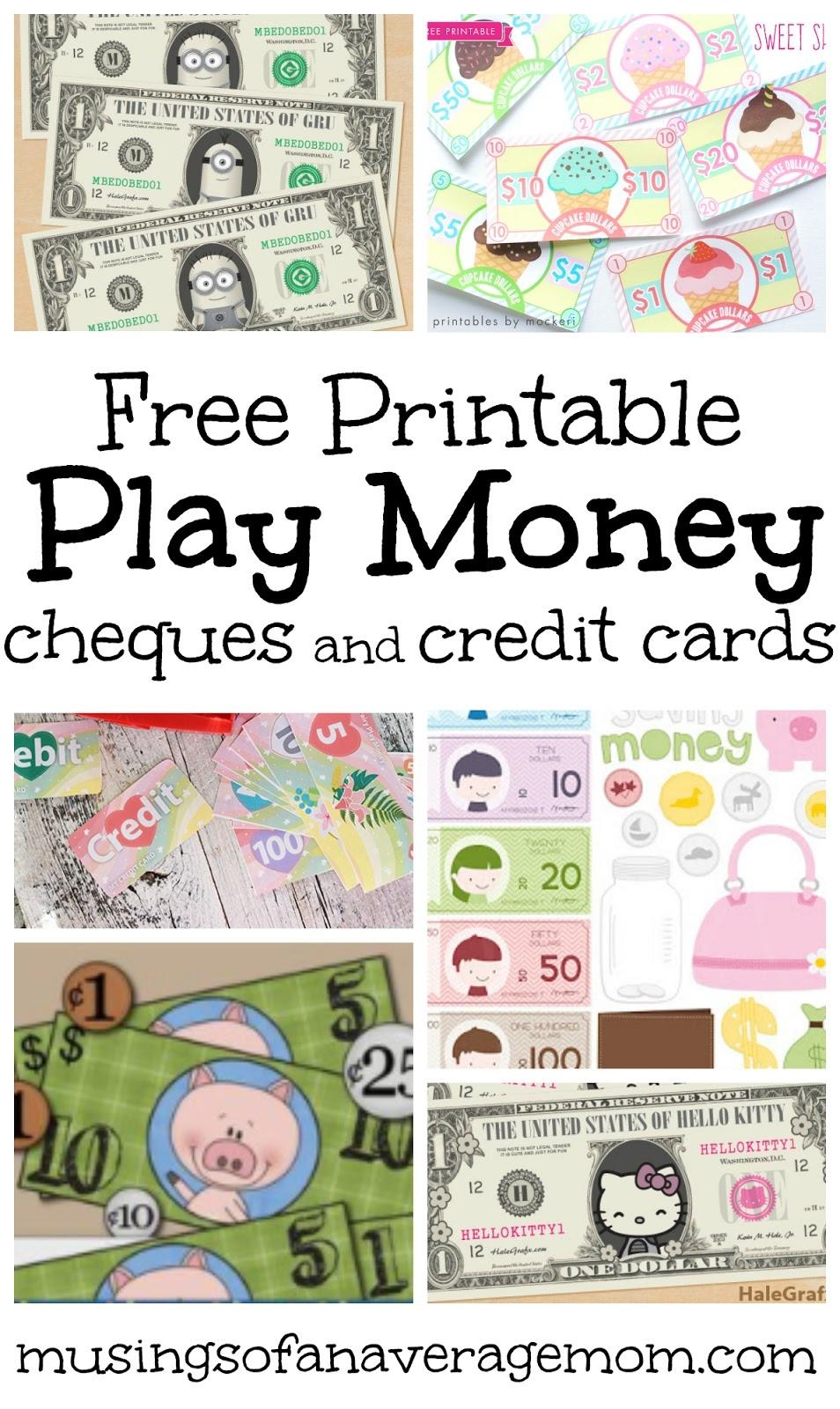Musings Of An Average Mom: Pretend Play Money - Free Printable Play Money