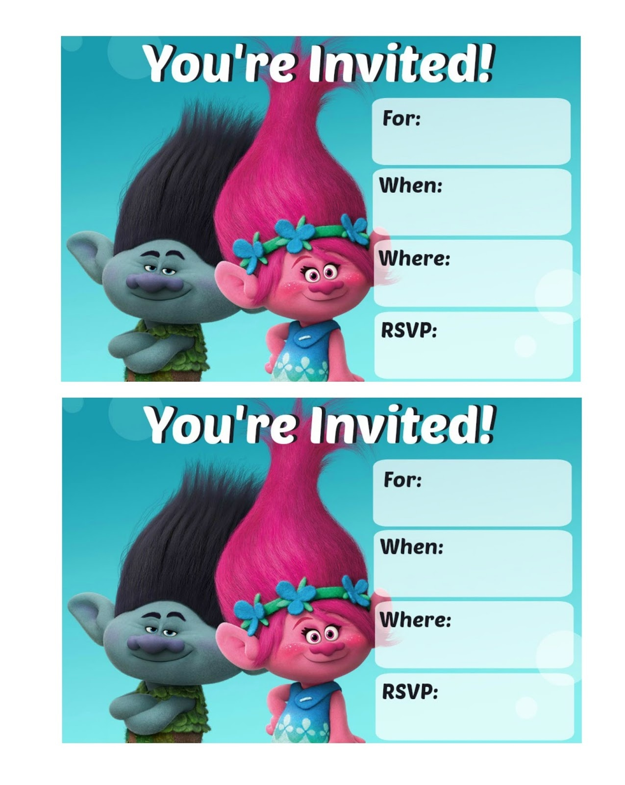 Musings Of An Average Mom: Trolls Party Invitations - Free Trolls Printables