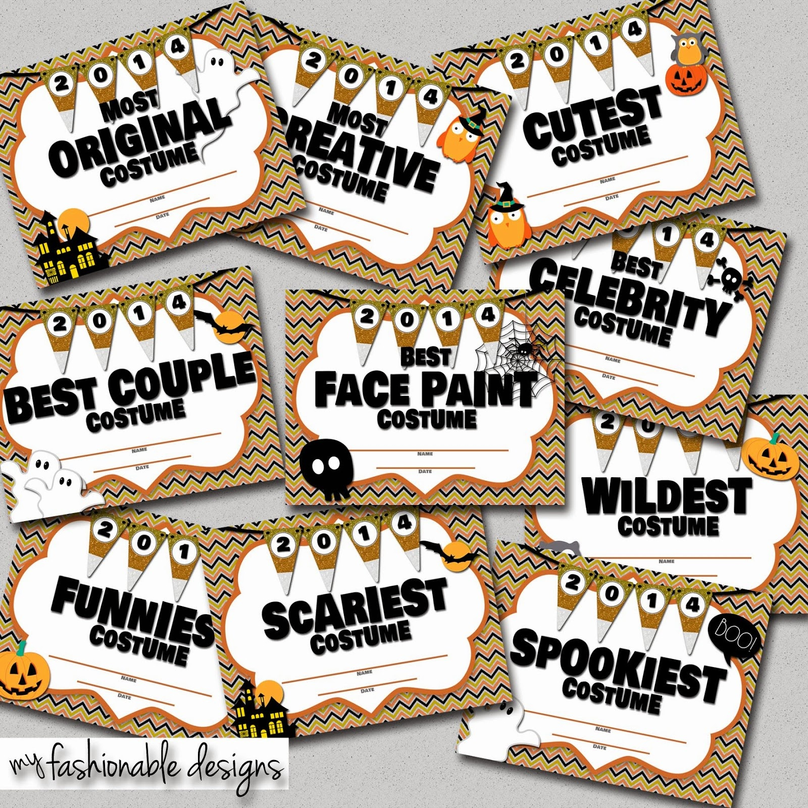 My Fashionable Designs: Halloween Costume Contest Certificates - Best Costume Certificate Printable Free